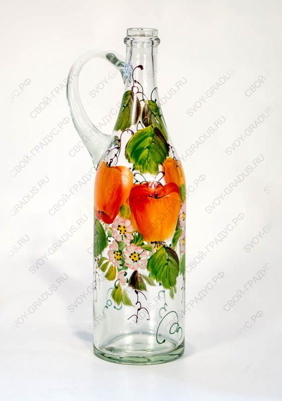 Бутыль стеклянная 1 л с ручкой «Ручная роспись»