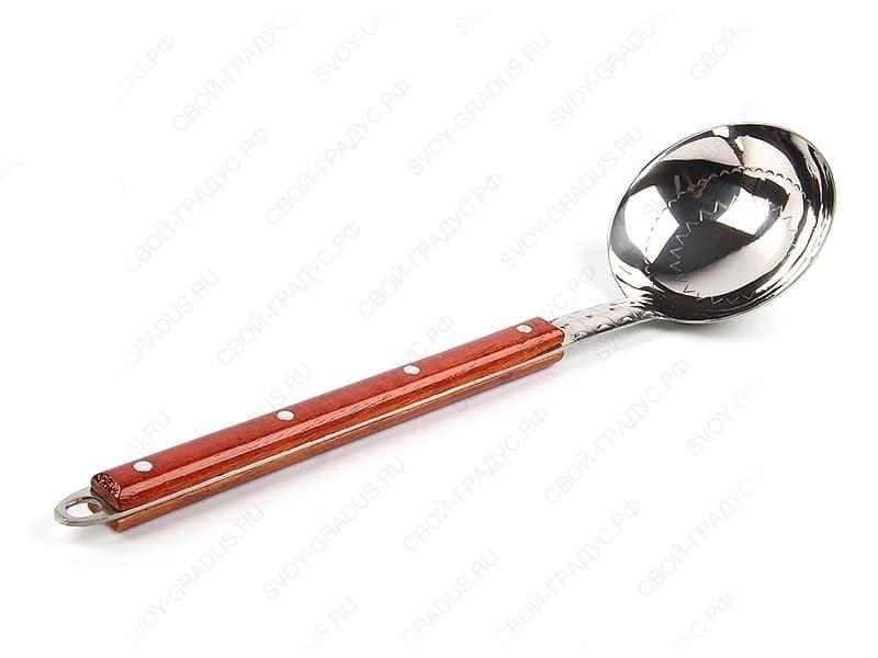 Половник для казана малый с деревянной ручкой 40 см.